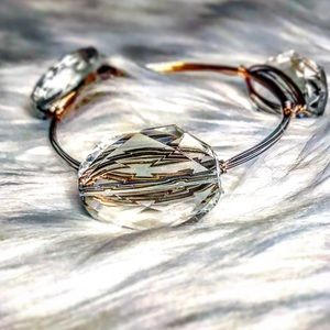 Jewelry - Large Clear Beaded Gold Wire Wrapped Bangle
